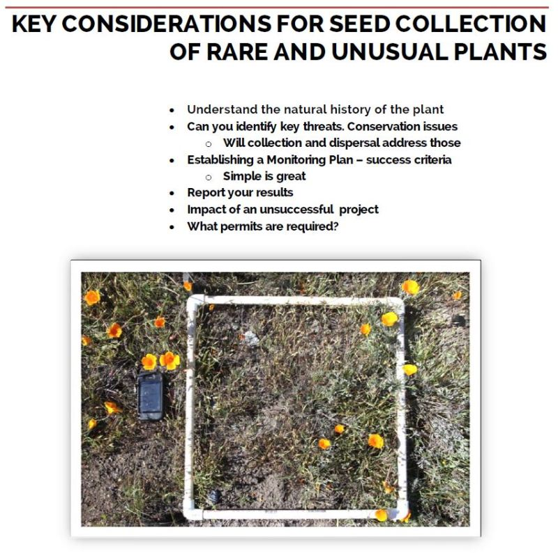 key considerations for rare plant seed collection workshop